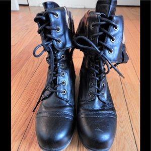 Bamboo Shoes - Bamboo Convertible Black Combat Boots Sz 6.5