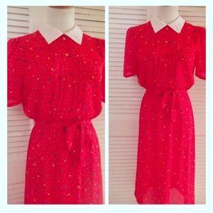 Fun Vintage Confetti Print Dress, Unlined, Red!