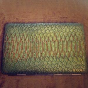 Abas Handbags - Abas Wallet turquoise reptile skin gold interior