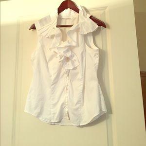 Diane von Furstenberg button down ruffle blouse