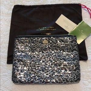 kate spade Handbags - NWT Kate spade silver sequined clutch