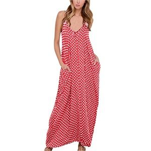 Dresses & Skirts - Rose Pink Polka Dot Maxi Dress