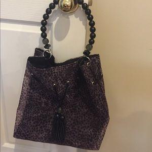 Handbags - Boutique gray and black leopard print bag.