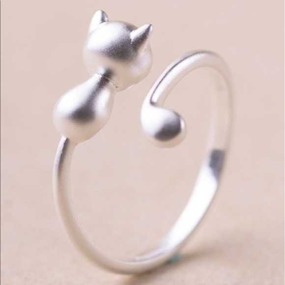 adjustable cat silver ring 925 sted adjustable