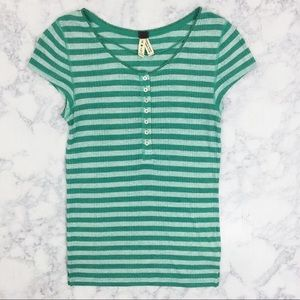 We The Free Green Striped Henley