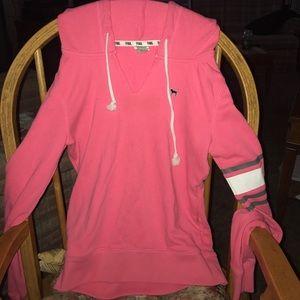 PINK V-neck hooded sweater
