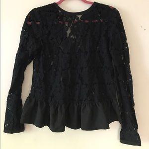 ASOS Sheer Black Lace Peplum Top