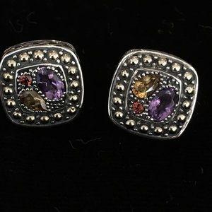 EFFY SS/18K Gold and Multi-Gemstone Omega Earrings