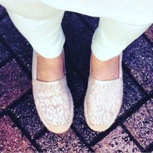 Boutique Shoes - Bone Cheetah Print Lace Espadrilles