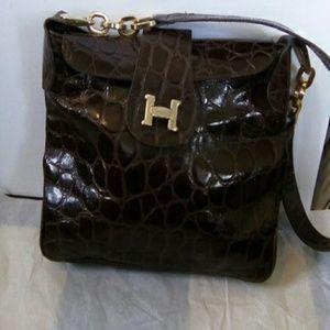 CARLA MANCINI Handbags - CARLA MANCINI PARIS CROC LEATHER BROWN