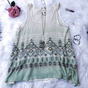 Mint Green Knit Aztec Print Sleeveless Tunic Top