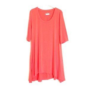 Anthropologie Tops - Cupio coral orange 3/4 sleeve long tunic Large
