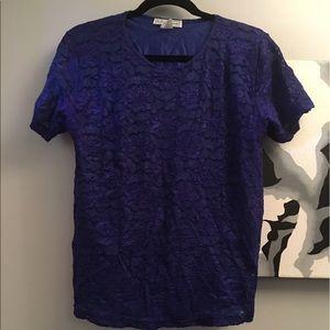 Stephanie Andrews XL royal blue lace tee - EUC