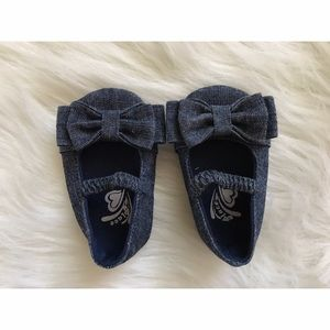 Other - DENIM BOW ONE STRAP SANDALS