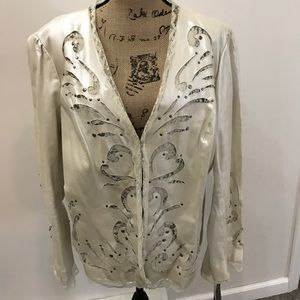 Adrienne Landau Jackets & Blazers - NWT leather jacket with cut out lace detailing