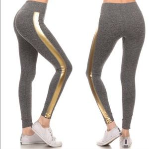 CHICBOMB Pants - Celebrity style Luxe metallic gold side legging