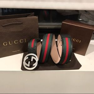 Gucci Other - ✨ Authentic Men Gucci Belt Black Trim Green Red