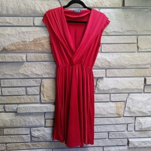 Gorgeous maroon red slinky pleated dress