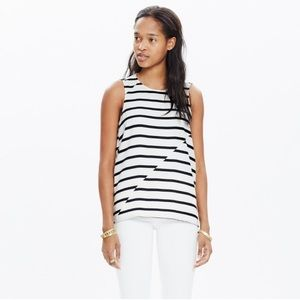Madewell Area Tank Top in Black Stripe with zipper