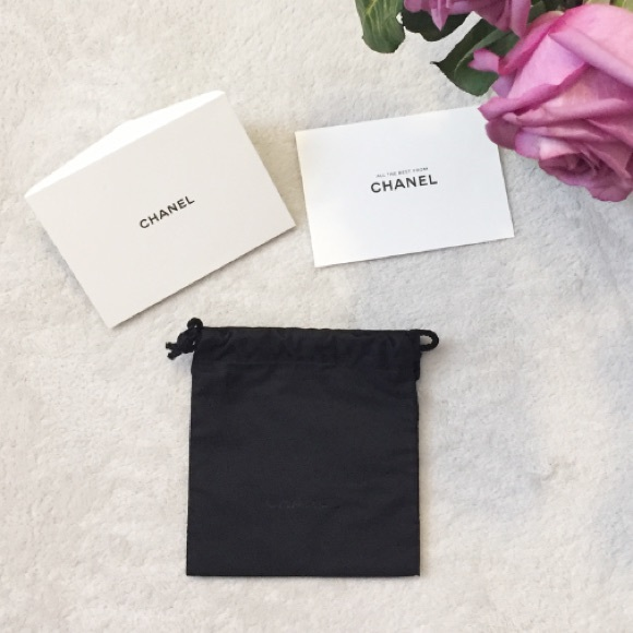 chanel authentic chanel small dust bag and card set from