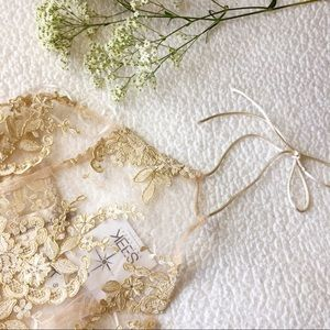 {LF} gold filigree lace halter top