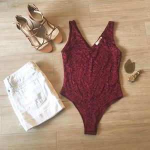 Nordstrom Other - Nordstrom wine lace bodysuit - NWT!!