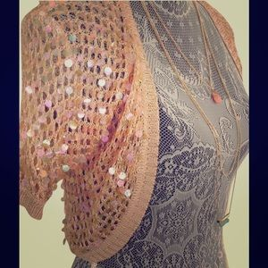 Caslon Gold Sequin Shrug