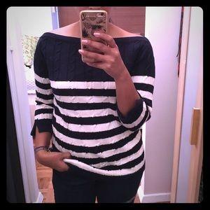 Trovata Sweaters - Trovata Navy & Cream Sweater