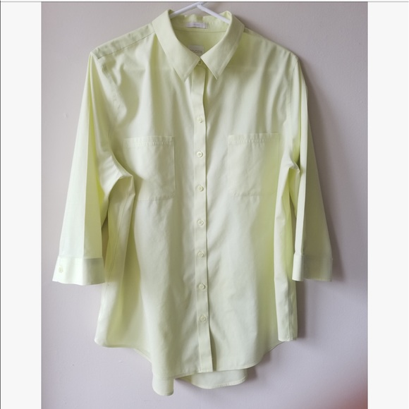 92 off chico 39 s tops chico 39 s no iron yellow button up for Chicos no iron shirts