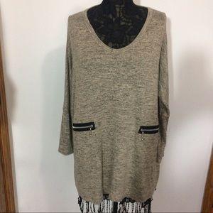 comfy usa Tops - Oversized Heather Gray Tunic