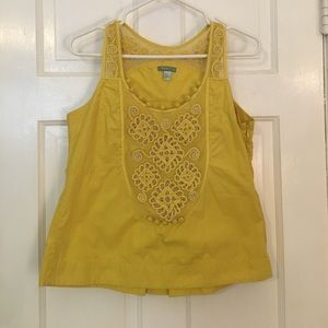 hoss Tops - Cotton tank with lace detail. Goldenrod color