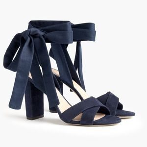 J. Crew Suede Sandals with Ankle Wraps. NEW
