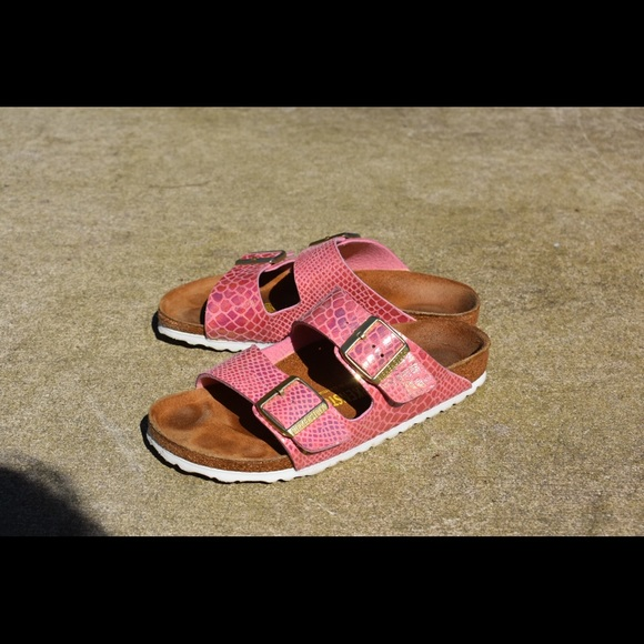 414c22998f1d Birkenstock Shoes - Pink holo snake print Birkenstocks!