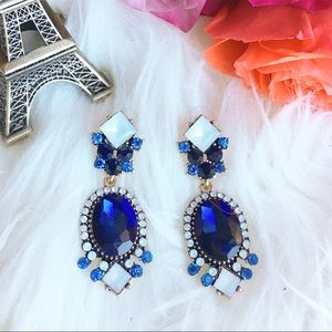 Jewelry - Royal blue rhinestone statement earrings
