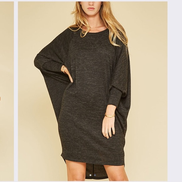 Love In Dresses & Skirts - Dolman Shift Dress in Charcoal Gray