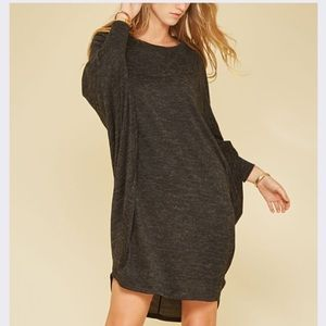 Dolman Shift Dress in Charcoal Gray