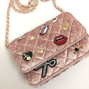 bebe Handbags - [NEW LISTING!] Velvet Crossbody with pins!