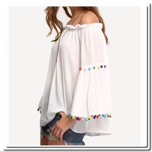 Tops - OFF the Shoulder White Blouse with Pom Poms