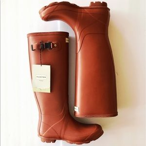 Hunter Shoes - HUNTER Burnt Sienna Matte Rubber Rain Boot