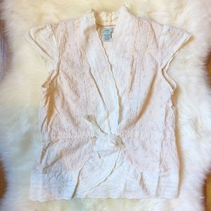 Anthropologie Blush Lace Tie Front Vest Top