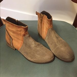 Leather Tan & Gray Booties