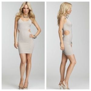 bebe gold shimmer cut out out dress