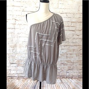 Lane Bryant Tops - Womens One Shoulder Embellished Shirt