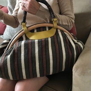 Tocca Handbags - Tocca Linen Striped Handbag