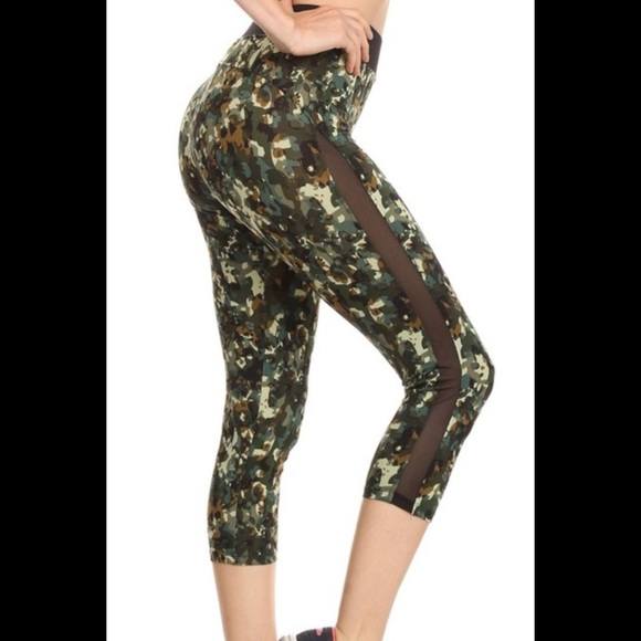 ce106f9aa8 Spunky Bee Pants   Camo Mesh Accent Athletic Workout Leggings   Poshmark