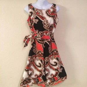 Paisley Print Merona Dress with belt, 8