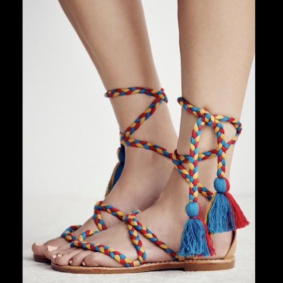 c7e480f114bc Free People red blue yellow Wrap Lace Up Tassel 7