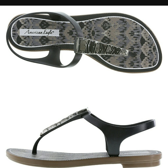 61db6a472b343d American Eagle by Payless Shoes - AE for Payless Samba jelly sandals BLACK