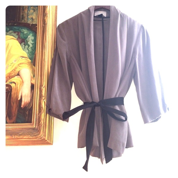 24% off H&M Jackets & Blazers - H&M Grey Tie Jacket Puff ...