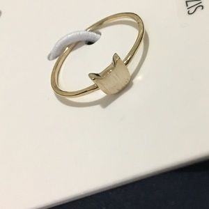 NWTDainty Brushed Gold Cat Head Ring